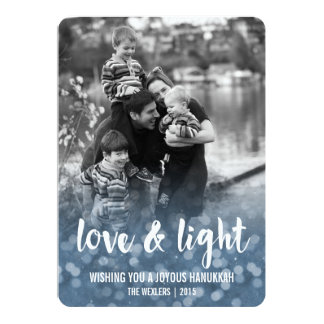 Love & Light Bokeh Hanukkah Photo Card