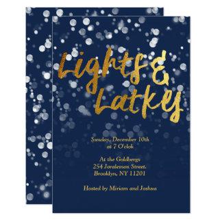 Love & Light   Faux Foil Bokeh Hanukkah Dinner Card