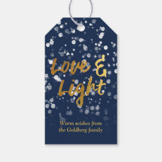 Love & Light | Faux Foil Lovely Bokeh Hanukkah Gift Tags
