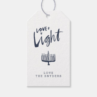 Love + Light Hanukkah Gift Tag - Dark Pack Of Gift Tags