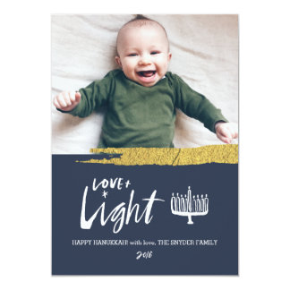Love + Light Hanukkah Holiday Photo Card - Light