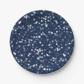 Love & Light    Lovely Navy Blue Bokeh Hanukkah Paper Plate