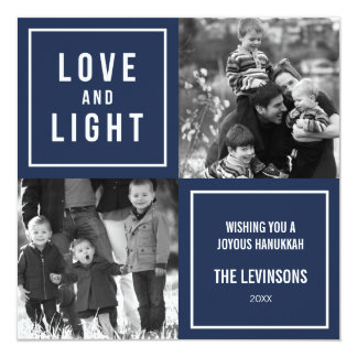Love & Light Modern Hanukkah Card for Two Photos