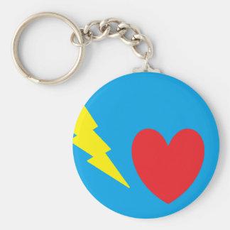 Love Lightning Basic Round Button Keychain