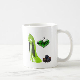 Love Lime Green Stiletto Shoe and Chocolates Art Coffee Mug