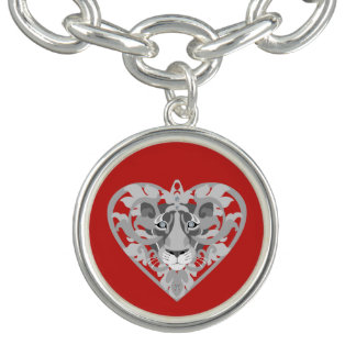 Love Lioness Locket charm bracelet (red)