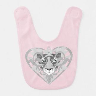 Love Lioness Locket (icy pink) baby bib