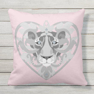 Love Lioness Locket (icy pink) cotton throw pillow