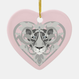 Love Lioness Locket(icy pinkheart-shaped ornament