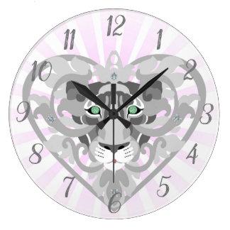 Love Lioness Locket round wall clock