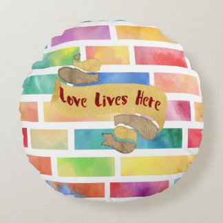 Love Lives Here Always Watercolor Rainbow Pillow