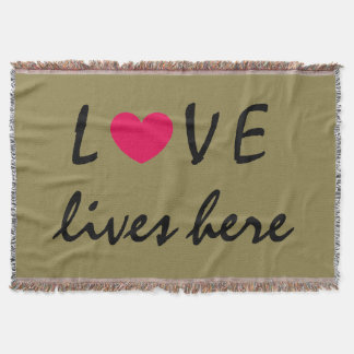 LOVE lives here Beautiful Quote Design Throw Blanket