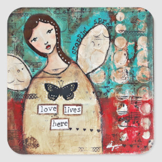 Love Lives Here by Ulyth Square Sticker