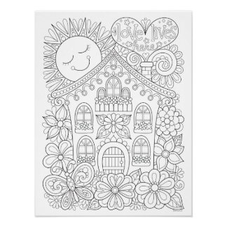 Love Lives Here Coloring Poster - Colorable Art