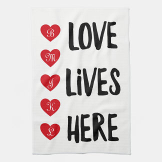 Love Lives Here Monogram Kitchen Towel