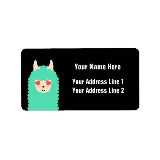 Love Llama Emoji Label