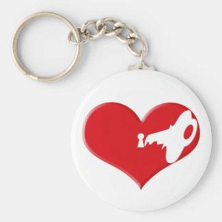 Love lock and key basic round button keychain