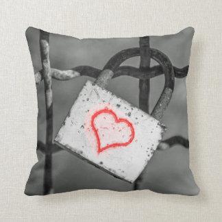 Love lock and red heart throw cushion