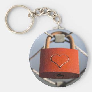 Love lock basic round button keychain