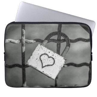 Love lock in black and white laptop sleeve