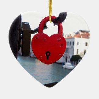 love lock in venice ceramic heart ornament