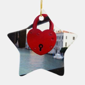 love lock in venice ceramic star ornament
