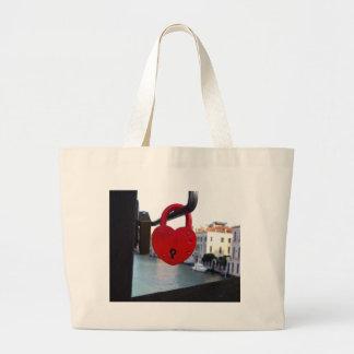 love lock in venice large tote bag