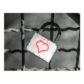 Love lock with red heart postcard