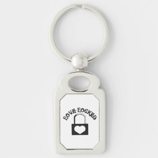 Love Locked Silver-Colored Rectangle Keychain