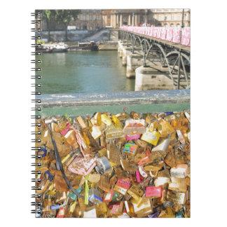 Love locks spiral notebooks