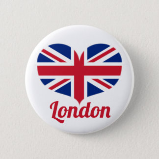 Love London | Heart Shaped UK Flag / Union Jack 2 Inch Round Button