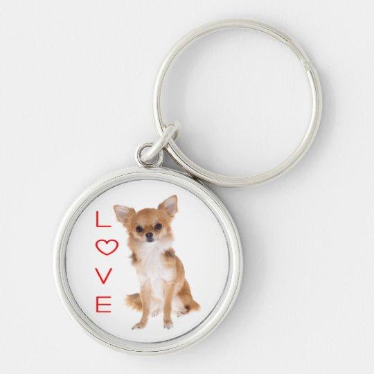 Love Long Hair Chihuahua Puppy Dog Keychain Zazzleca