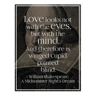 'Love looks not with the eyes..' Shakespeare Quote Postcard
