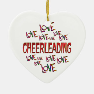 Love Love Cheerleading Ceramic Ornament
