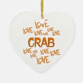 Love Love Crab Ceramic Heart Ornament