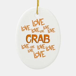 Love Love Crab Ceramic Oval Ornament