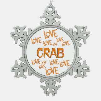 Love Love Crab Pewter Snowflake Ornament