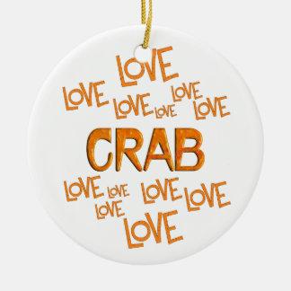 Love Love Crab Round Ceramic Ornament