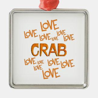 Love Love Crab Silver-Colored Square Ornament