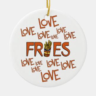 Love Love Fries Round Ceramic Ornament