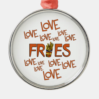 Love Love Fries Silver-Colored Round Ornament