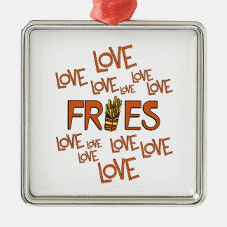 Love Love Fries Silver-Colored Square Ornament