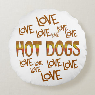 Love Love Hot Dogs Round Pillow