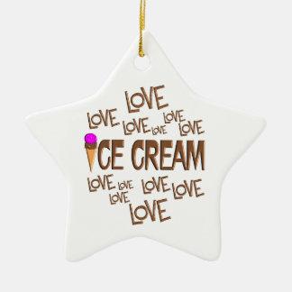 Love Love Ice Cream Ceramic Star Ornament