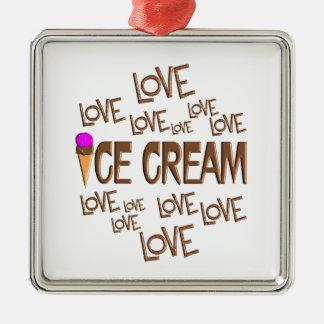 Love Love Ice Cream Silver-Colored Square Ornament