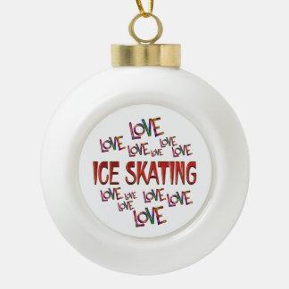 Love Love Ice Skating Ceramic Ball Ornament