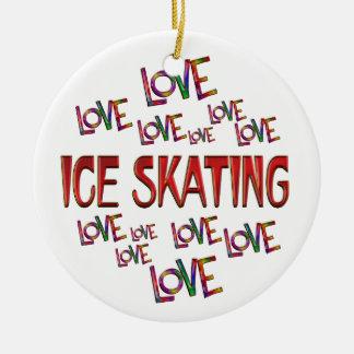 Love Love Ice Skating Round Ceramic Ornament
