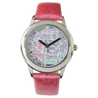 Love Love Love - Cute Girly Pink Glitter Watch