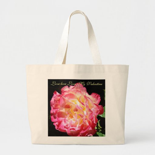 Love Love Love My Valentine Pink Rose Tote Bags
