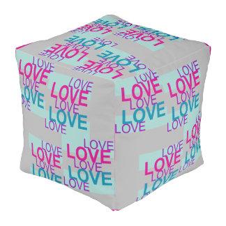LOVE LOVE LOVE  Pouf-Home Decor-Pink/Blue/Gray Pouf